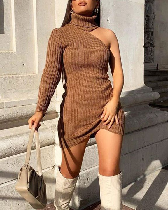 Solid Rib-Knit Cut Out High Neck Bodycon Mini Dress gallery 5