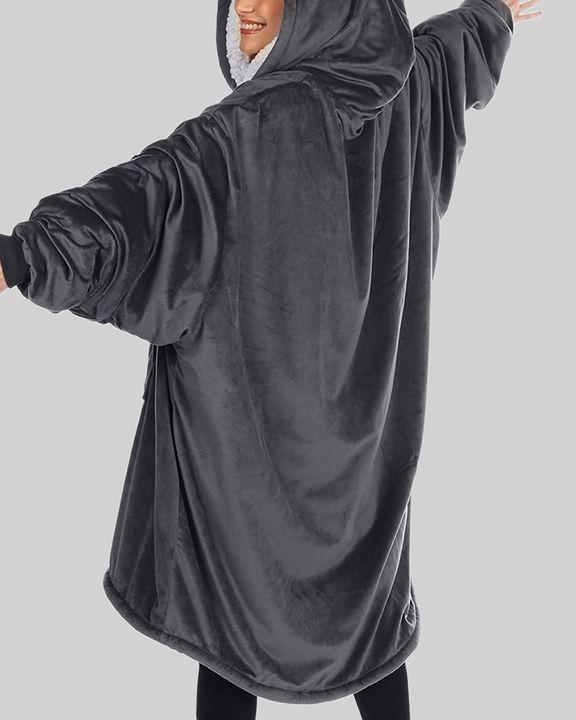 Maple Leaf Print Kangaroo Pocket Thermal Wearable Blanket Coat gallery 32