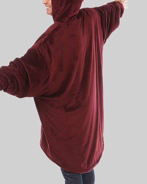 Maple Leaf Print Kangaroo Pocket Thermal Wearable Blanket Coat gallery 14