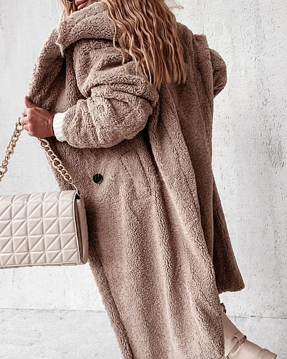 Solid Double Breasted Slant Pocket Teddy Coat gallery 1