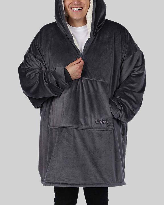 Maple Leaf Print Kangaroo Pocket Thermal Wearable Blanket Coat gallery 30