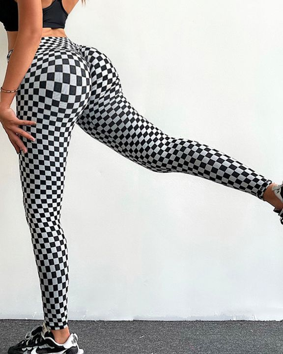 Plaid Print Scrunch Butt Lifting Sports Leggings gallery 8