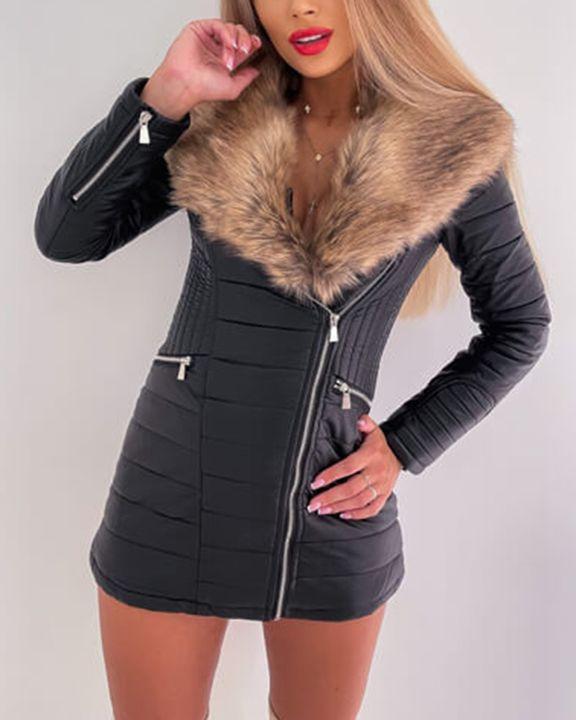 PU Leather Fuzzy Stitch Trim Zip Front Jacket gallery 1