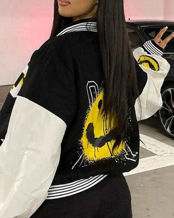 Striped Colorblock Letter & Graphic Print Zip Up Baseball Collar Jacket gallery 4
