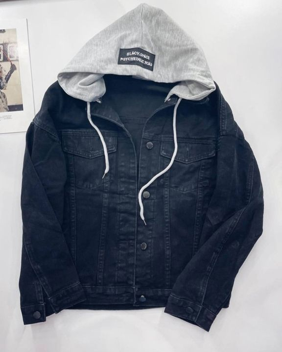 Letter Tape Button Up Drawstring Detail Hooded Denim Jacket gallery 3