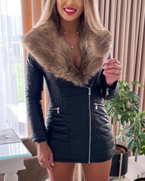 PU Leather Fuzzy Stitch Trim Zip Front Jacket gallery 2
