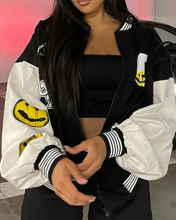 Striped Colorblock Letter & Graphic Print Zip Up Baseball Collar Jacket gallery 2