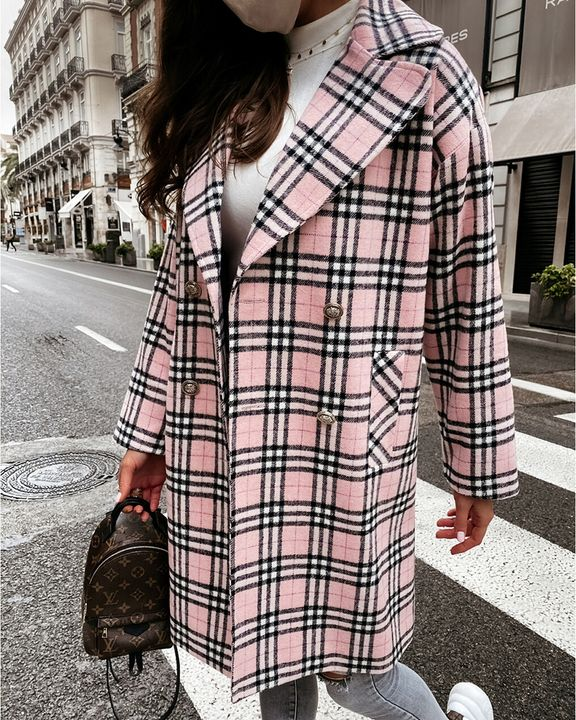 Plaid Print Double Breasted Lapel Neck Coat gallery 1