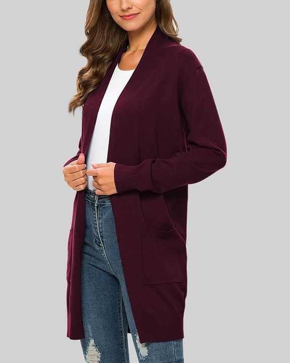 Solid Dual Pocket Open Front Cardigan gallery 19