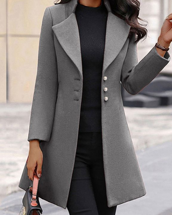 Solid Button Fly Lapel Neck Coat gallery 3