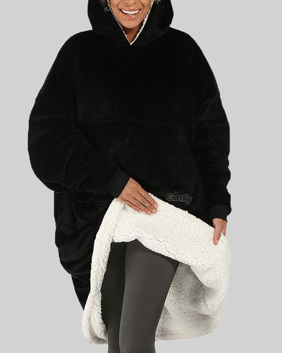 Maple Leaf Print Kangaroo Pocket Thermal Wearable Blanket Coat gallery 2