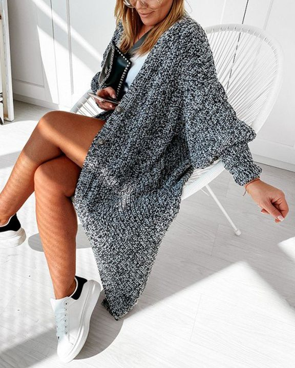 Patch Pocket Puff Sleeve Open Front Cardigan gallery 3