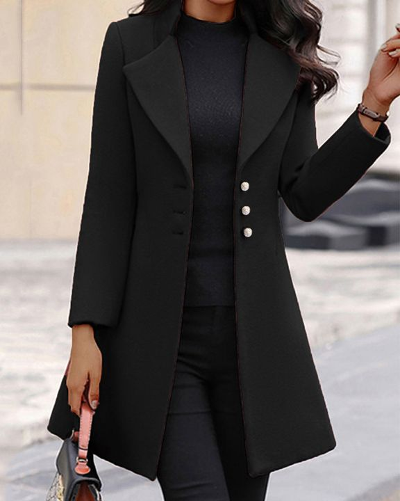 Solid Button Fly Lapel Neck Coat gallery 2