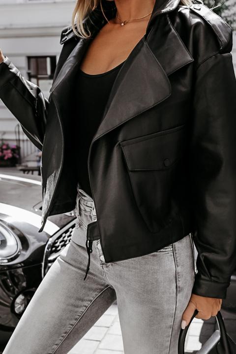 PU Leather Belted Pocket Detail Lapel Neck Jacket gallery 2