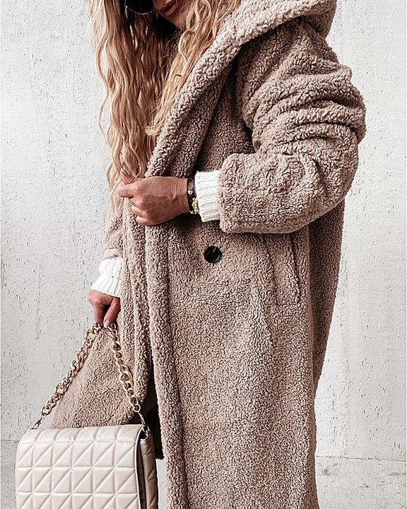 Solid Double Breasted Slant Pocket Teddy Coat gallery 4