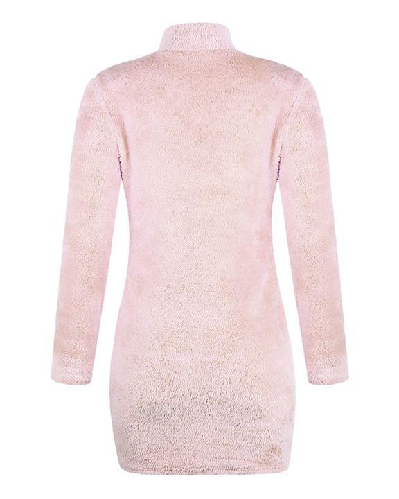 Fuzzy High Neck Long Sleeve  Mini Dress gallery 6