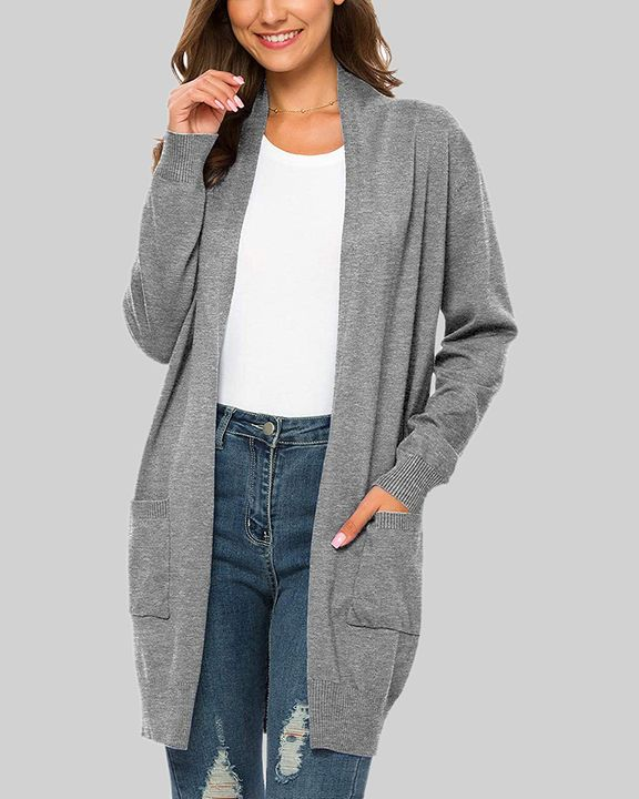 Solid Dual Pocket Open Front Cardigan gallery 3