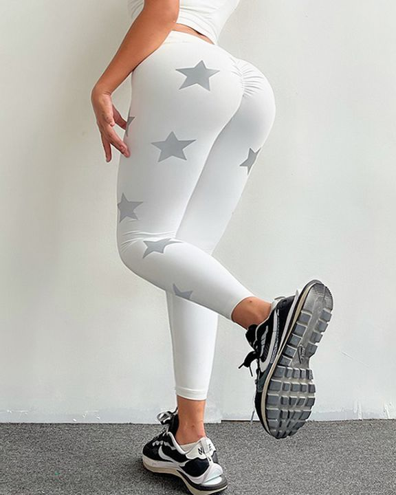 Star Print Ruched Overlap Waist Sports Leggings gallery 11