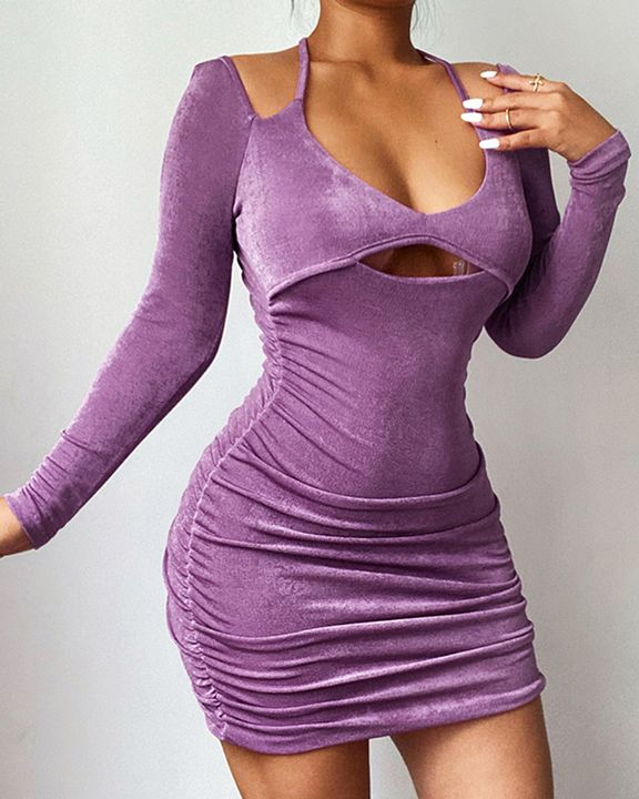 Solid Ruched Cut Out Front Tie Back Mini Dress gallery 6