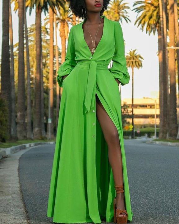 Solid Button Up Self-Tie Puff Sleeve Maxi Shirt Dress gallery 2