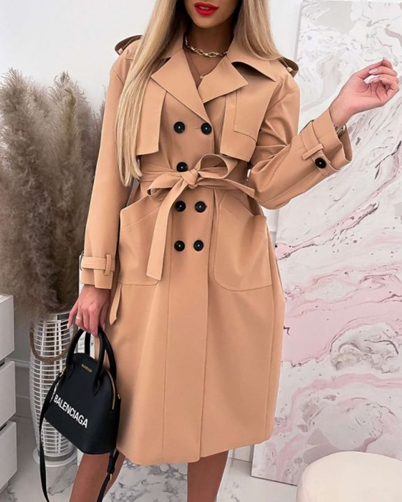 Double Breasted Belted Pocket Detail Trench Coat gallery 4