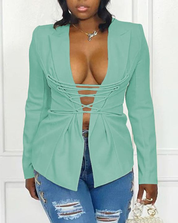 Solid Lace Up Lapel Neck Blazer gallery 4