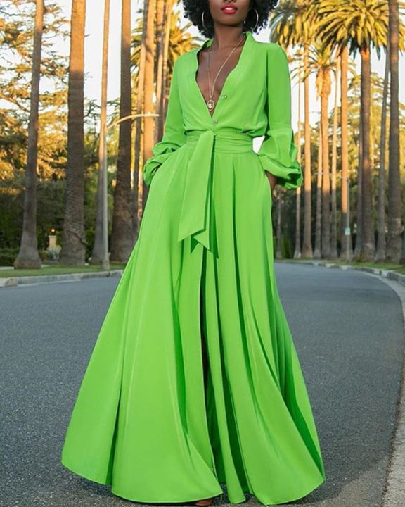 Solid Button Up Self-Tie Puff Sleeve Maxi Shirt Dress gallery 1