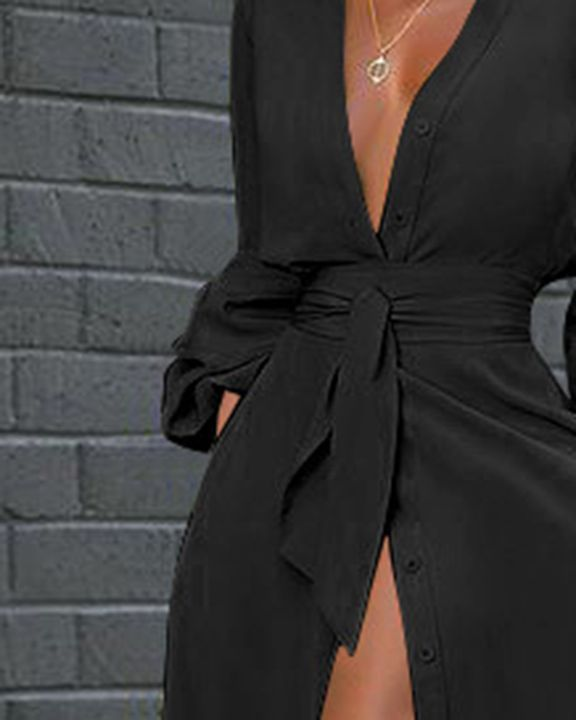 Solid Button Up Self-Tie Puff Sleeve Maxi Shirt Dress gallery 6