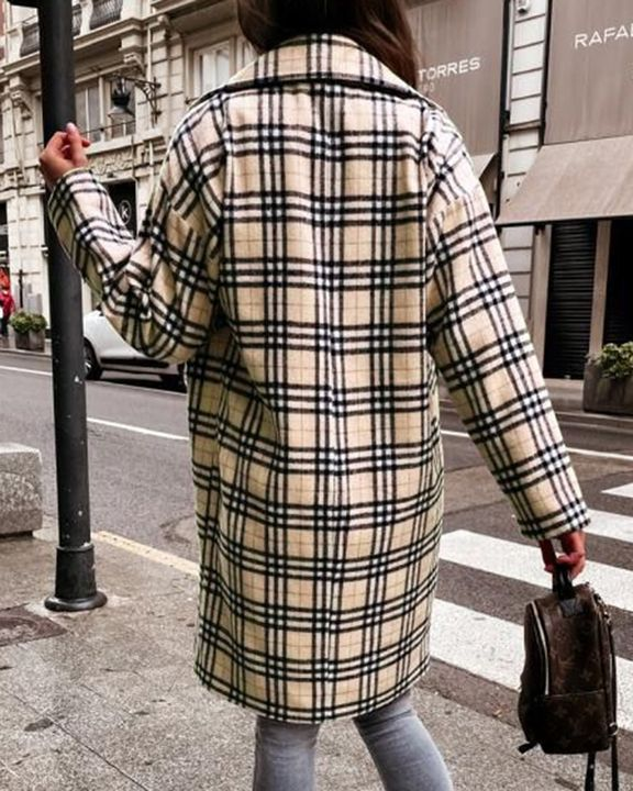 Plaid Print Double Breasted Lapel Neck Coat gallery 9