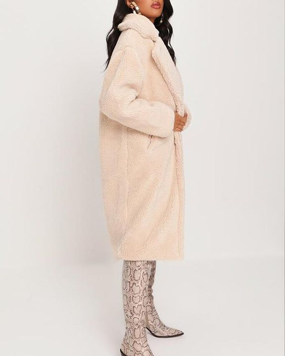 Solid Button Front Lapel Neck Teddy Coat gallery 4