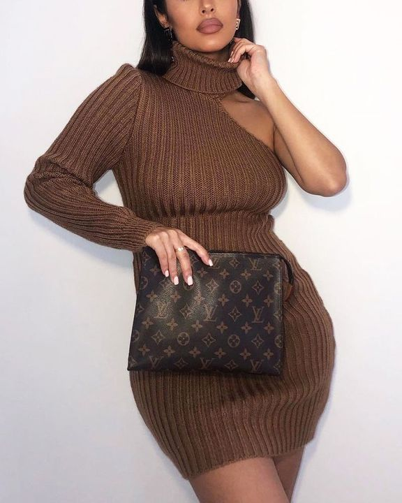 Solid Rib-Knit Cut Out High Neck Bodycon Mini Dress gallery 1