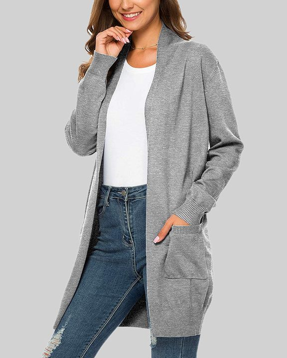 Solid Dual Pocket Open Front Cardigan gallery 1