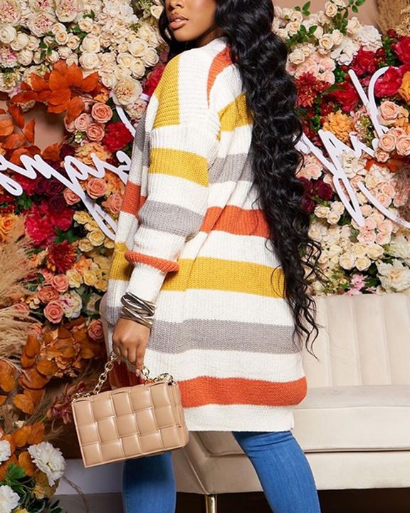 Colorblock Chunky Knit Dual Pocket Knee Length Cardigan gallery 2