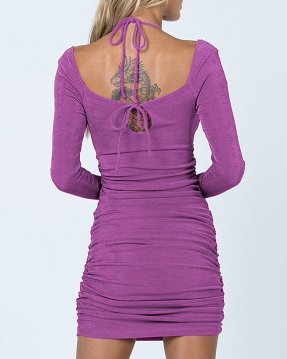 Solid Ruched Cut Out Front Tie Back Mini Dress gallery 5
