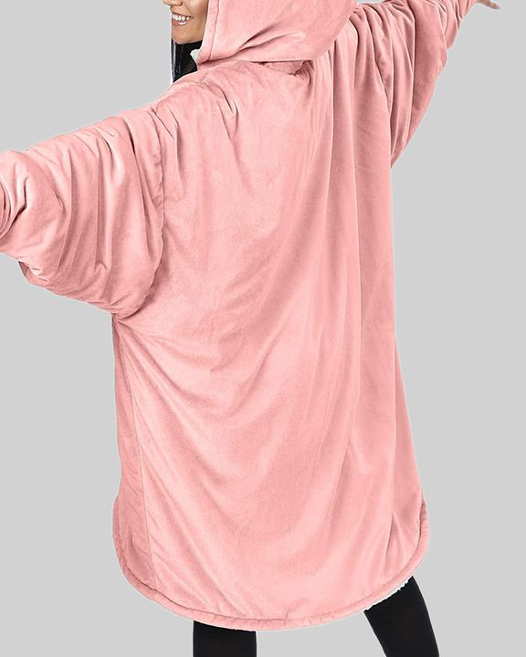 Maple Leaf Print Kangaroo Pocket Thermal Wearable Blanket Coat gallery 25