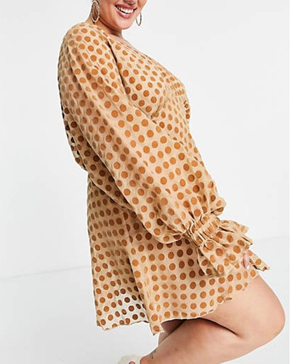 Polka Dot Print Ruffle Cuff Zip Back Mini Dress gallery 2