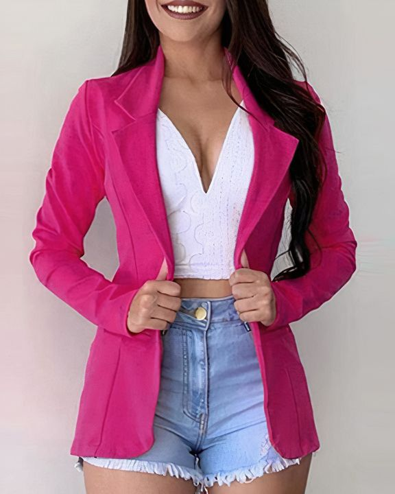 Solid Button Front Lapel Neck Blazer gallery 1