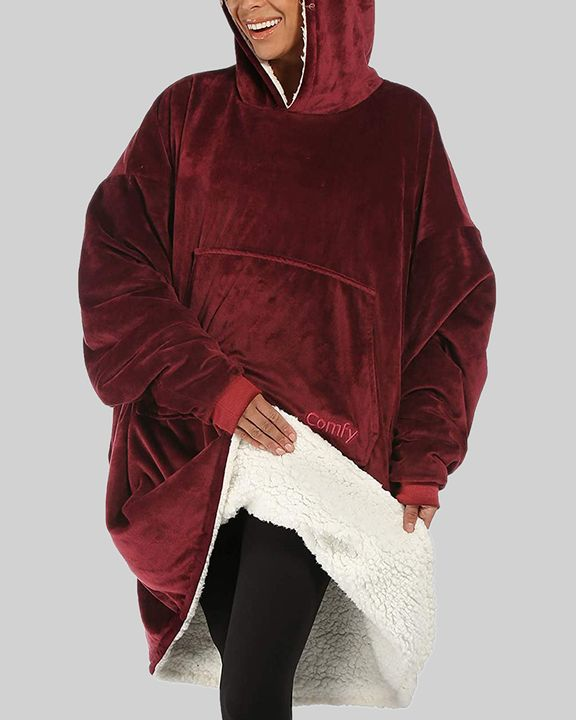 Maple Leaf Print Kangaroo Pocket Thermal Wearable Blanket Coat gallery 3