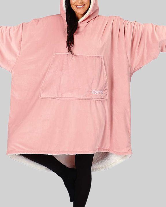 Maple Leaf Print Kangaroo Pocket Thermal Wearable Blanket Coat gallery 23