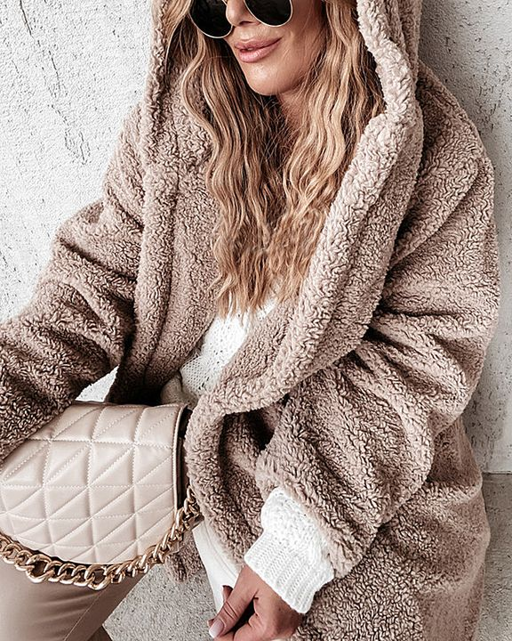 Solid Double Breasted Slant Pocket Teddy Coat gallery 6