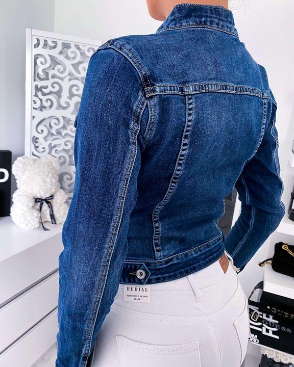 Zip Up Flap Pocket Denim Jacket gallery 3