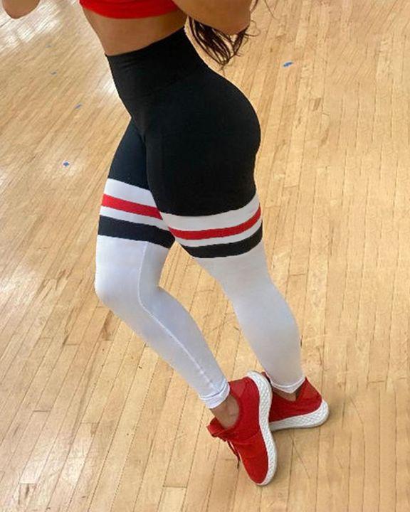 Colorblock Stripe Pocket Side Sports Leggings gallery 4
