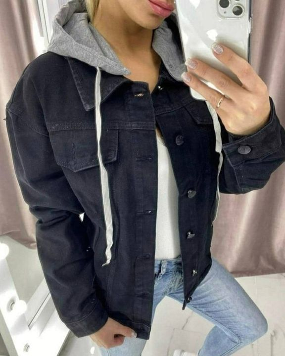 Letter Tape Button Up Drawstring Detail Hooded Denim Jacket gallery 1