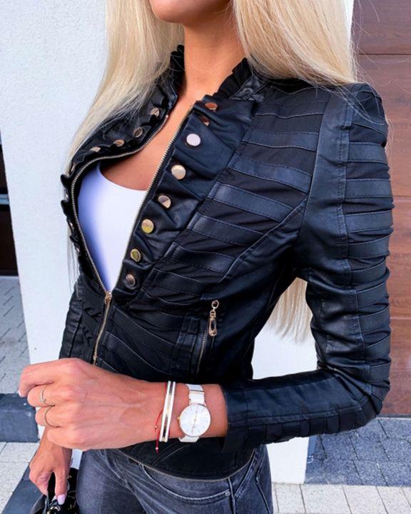 PU Leather Frill Trim Zip Up Button Detail Split Hem Jacket gallery 1
