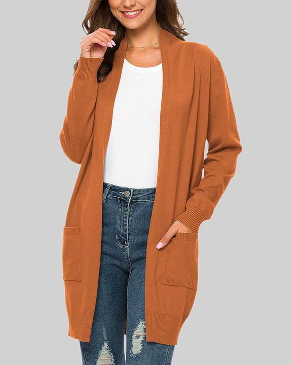 Solid Dual Pocket Open Front Cardigan gallery 7