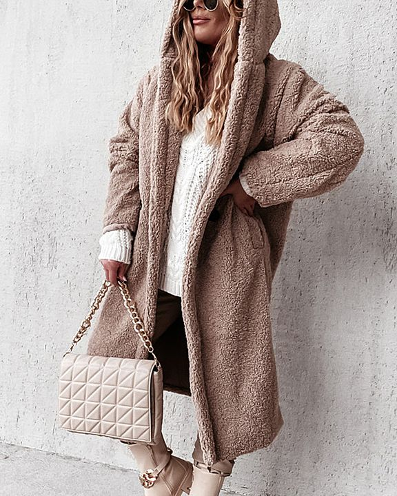 Solid Double Breasted Slant Pocket Teddy Coat gallery 3
