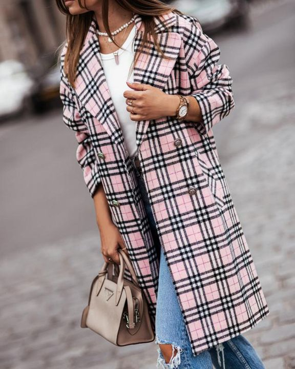 Plaid Print Double Breasted Lapel Neck Coat gallery 2