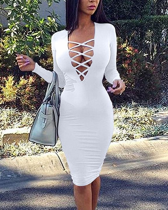 Solid Criss Cross Hollow Out Form Fitting Midi Dress gallery 2
