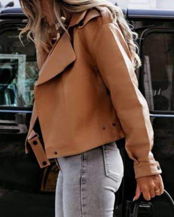 PU Leather Belted Pocket Detail Lapel Neck Jacket gallery 6