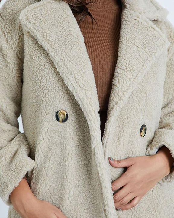 Solid Button Front Lapel Neck Teddy Coat gallery 5